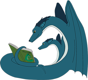 A couple of bookworm dragons reading
